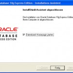 Oracle XE install finished